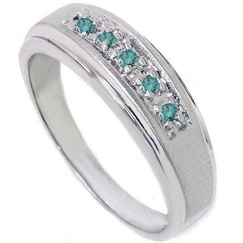 mens blue diamond 14k white gold wedding anniversary brushed wedding