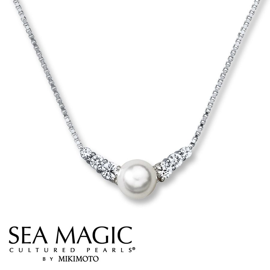 62e694611 Cultured Pearl Necklace Natural White Sapphires Sterling Silver- Kay  Jewelers