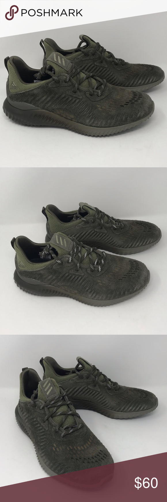 9df93e333243f Adidas Alphabounce LEA Running Shoes - Men Adidas Alphabounce LEA Running  Shoes - Men s Color  Branch   Trace Cargo   Camo Green Material  Suede  upper ...