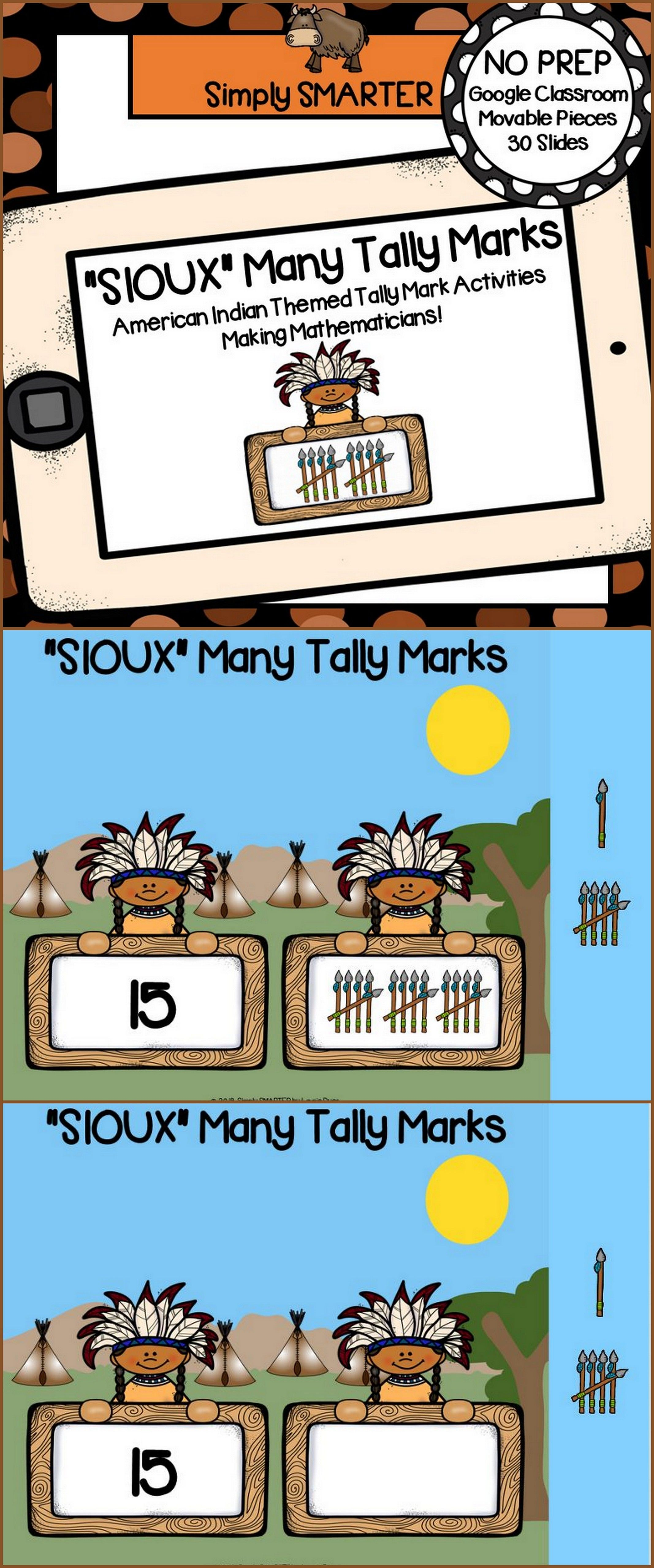 American Indian Themed Tally Mark Activities For