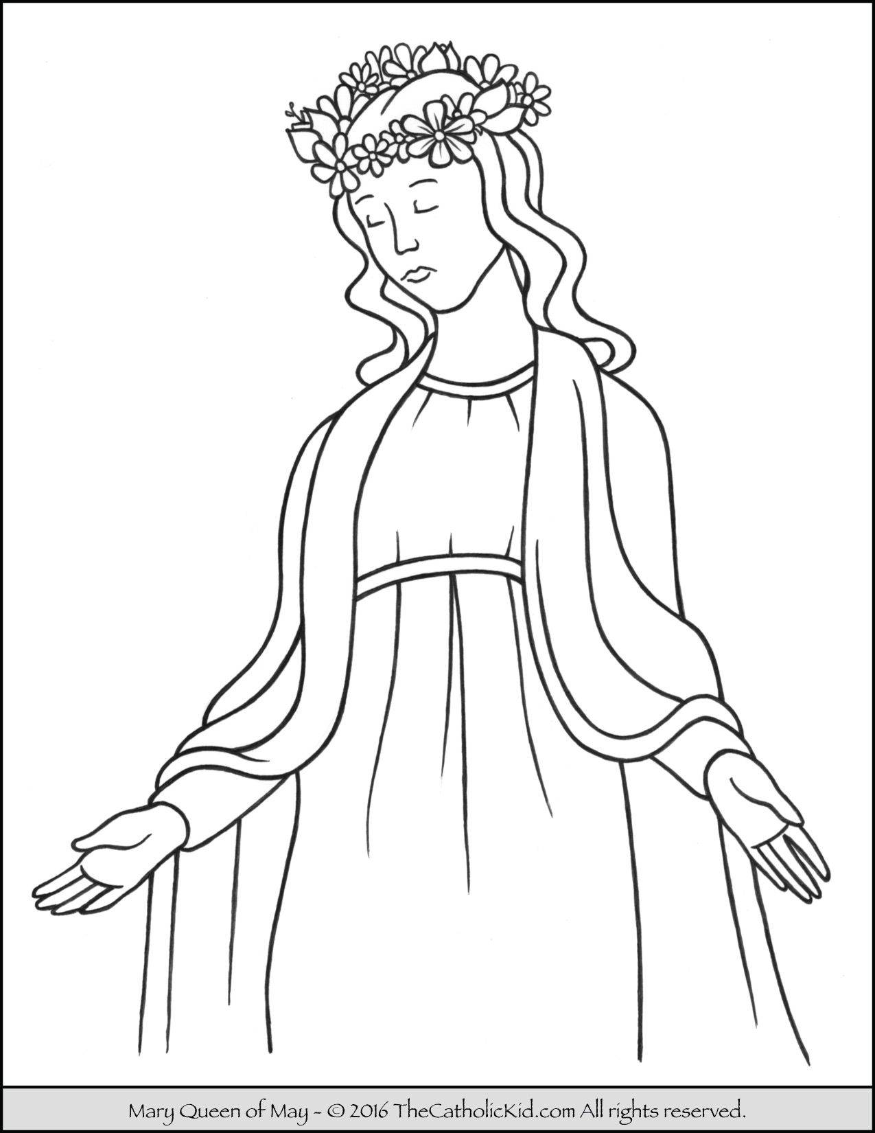 Coloring page of Mary, Queen of May that can be used to teach ...