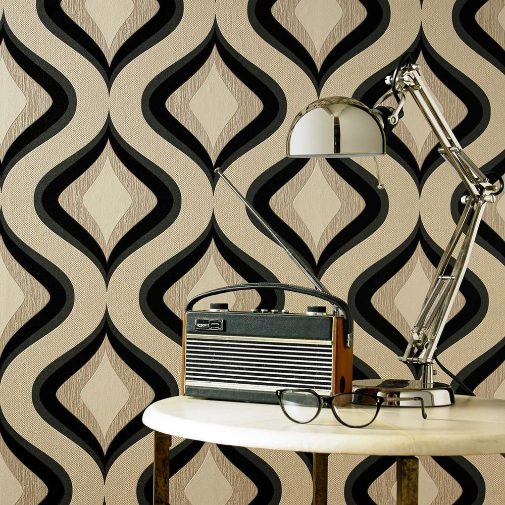 Graham & Brown Trippy Gray Wallpaper, Grey