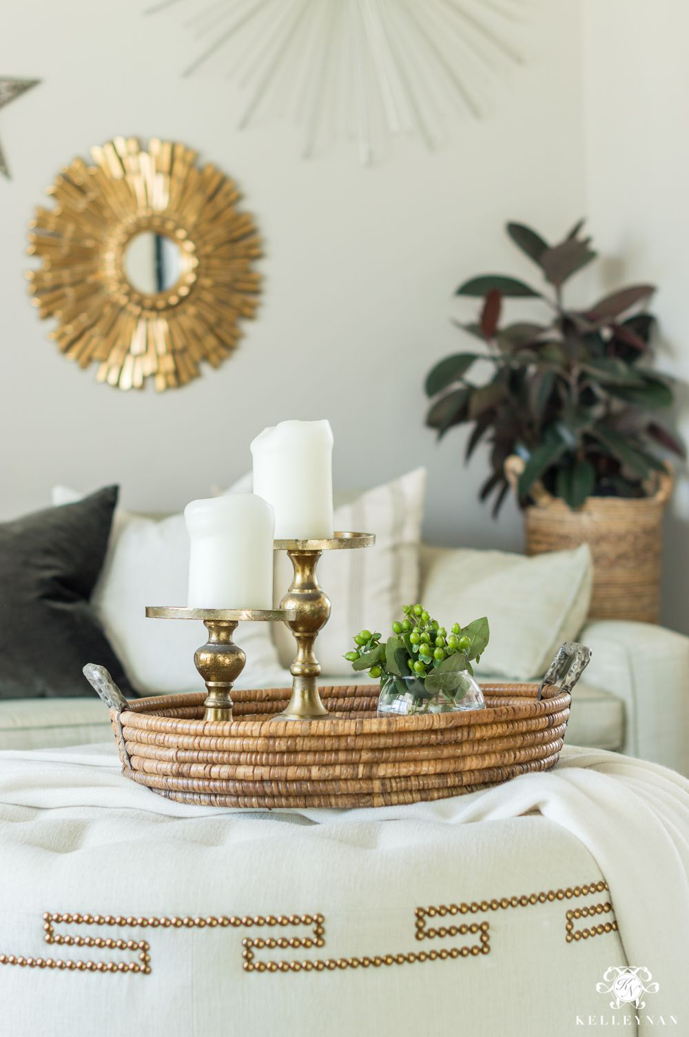 Nine Tips To Transition Your Holiday Decor To Winter In The Pre Spring Lull Kelley Nan Christmas Coffee Table Decor Ottoman Coffee Table Round Ottoman Coffee Table