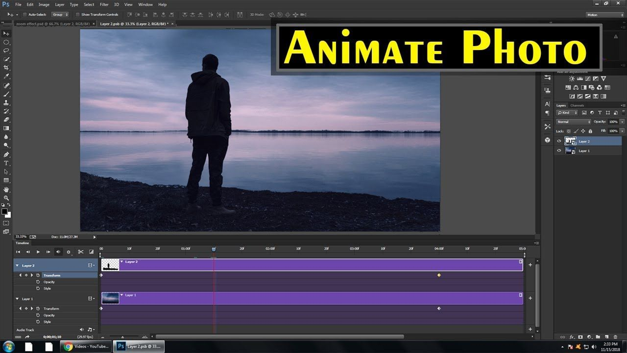 How To Animate A Photo In Photoshop Moving Photo Effect Photoshop Ma Photoshop Timeline Timeline Animation Animation Tutorial