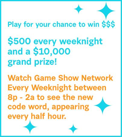 game show network daily draw code word