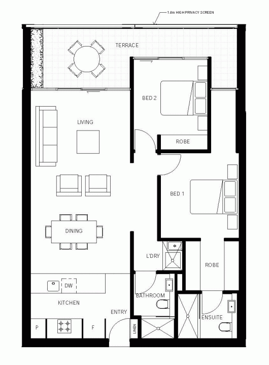 Floor Plan For 969 Sq Ft Home. Could Be Smaller, But I Like The