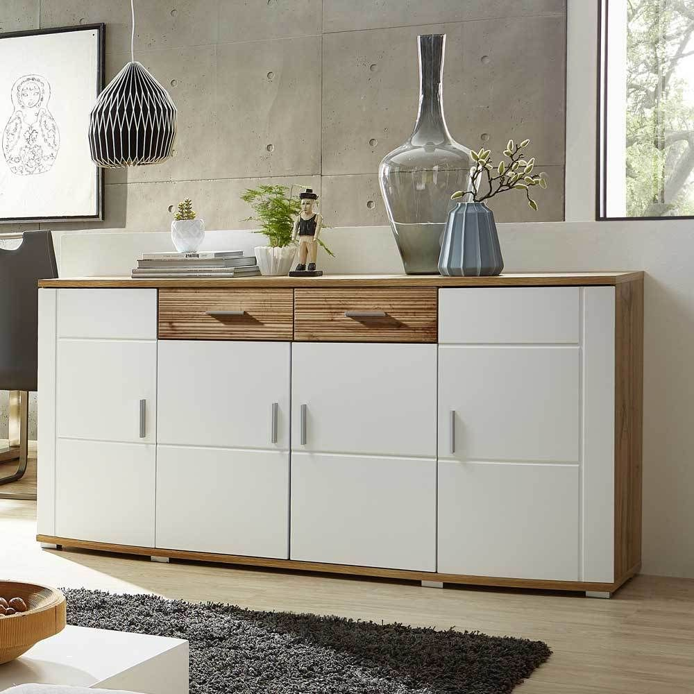 Wohnzimmer Sideboard In Weiss Eiche Geriffelt Sidebord Schraenke Wohnzimmerschrank Wohnz Crockery Unit Design Dinning Room Decor Interior Design Living Room