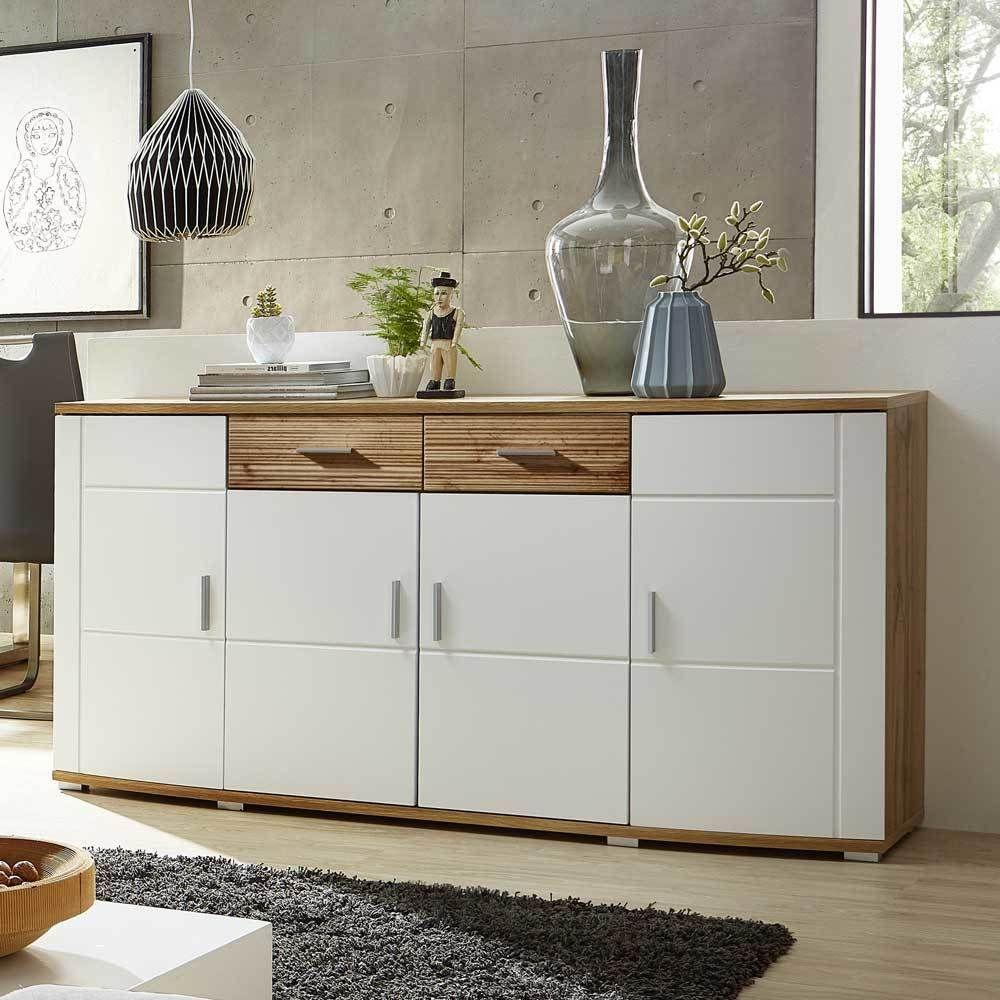 wohnzimmer sideboard in weiß eiche | küche kommode