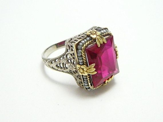 92e43c6ee9d Rare 14k White Yellow Gold Antique Art Deco Red Ruby Pearl Filigree ...