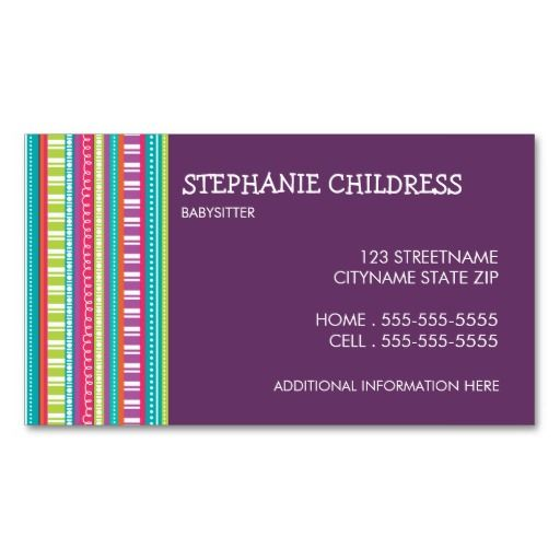 Colorful Stripes Babysitting Business Card Zazzle Com Colorful Business Card Design Business Card Pattern Colorful Business Card