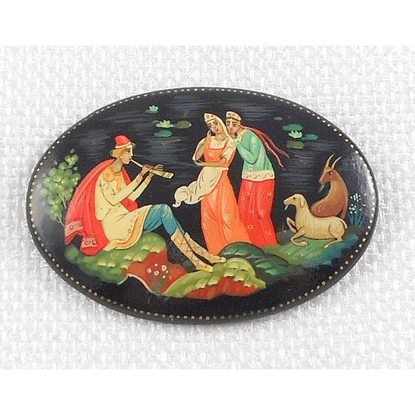 Vintage Hand-painted Kholuy Lel Russian Lacquer Brooch by Mozhin... (€36) via Polyvore featuring jewelry, brooches, vintage pins brooches, pin jewelry, vintage broach, vintage jewellery and lacquer jewelry