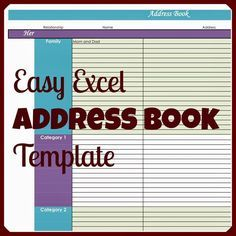 Easy Excel Address Book Template Address Book Template Book Template Address Book