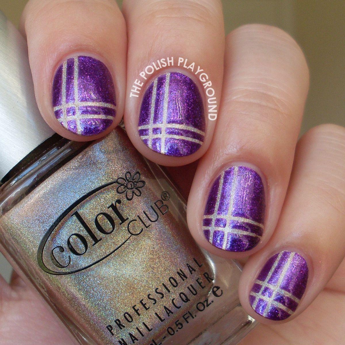 Purple and holographic neutral plaid nail art nail art community
