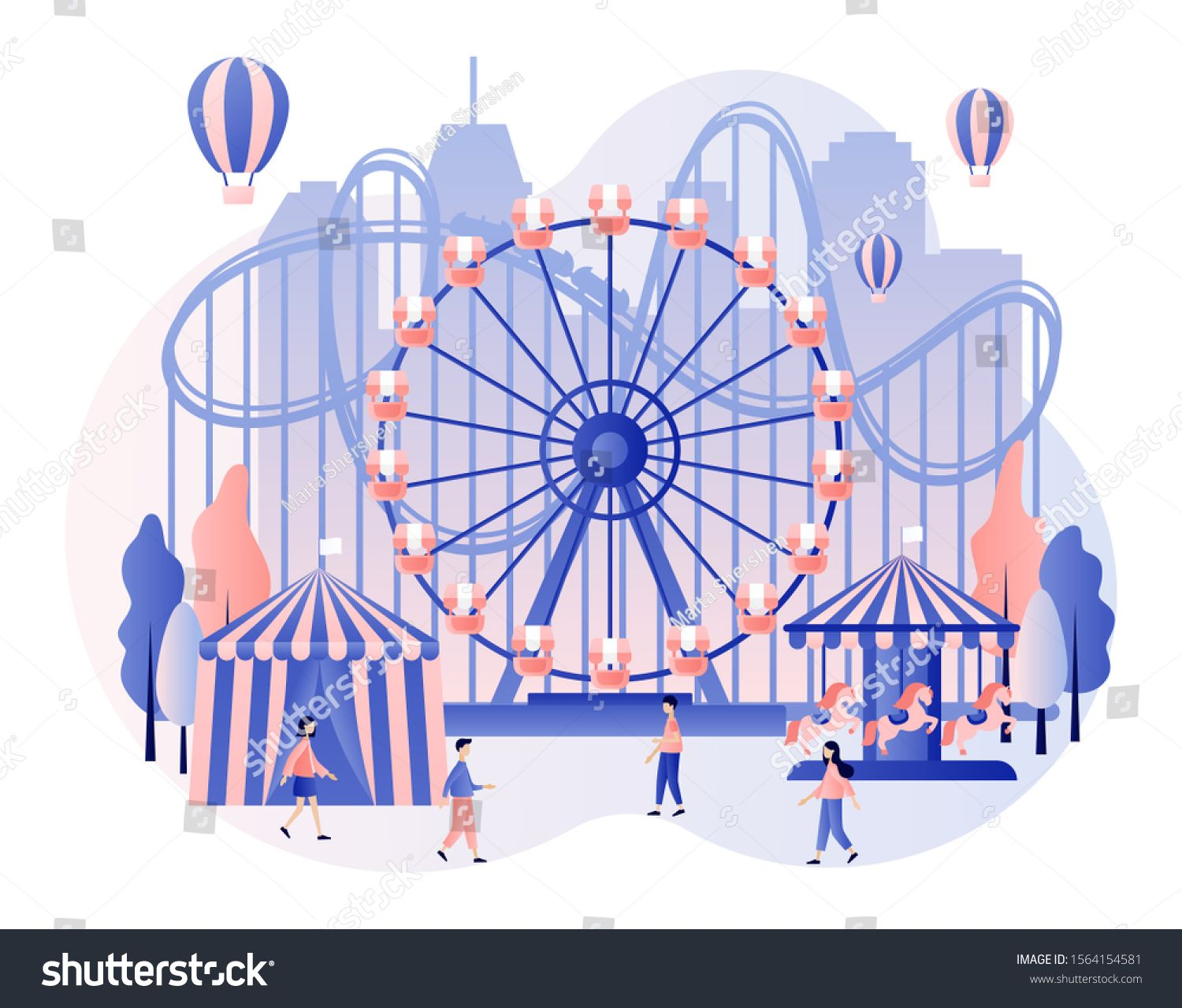 Amusement Park Concept Tiny People With Carousels Roller Coaster Air Balloon Circus Fun Fair And Amusement Park Cartoon Styles Abstract Photo Manipulation