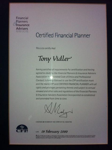 Tony Vidler. Certified Financial Planner (CFP) http://www ...