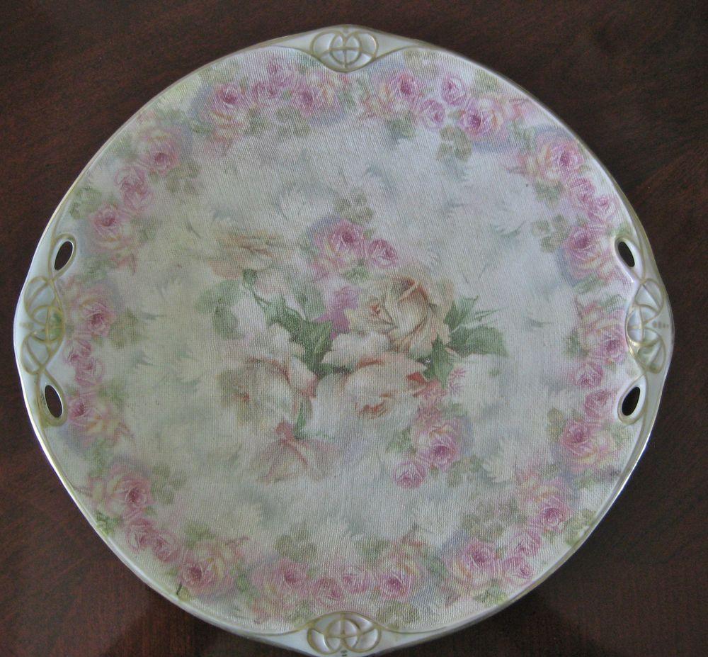 Royal Bayreuth Rose Tapestry Cake Plate Pink Antique German Porcelain #RoyalBayreuth & Royal Bayreuth Rose Tapestry Cake Plate Pink Antique German ...