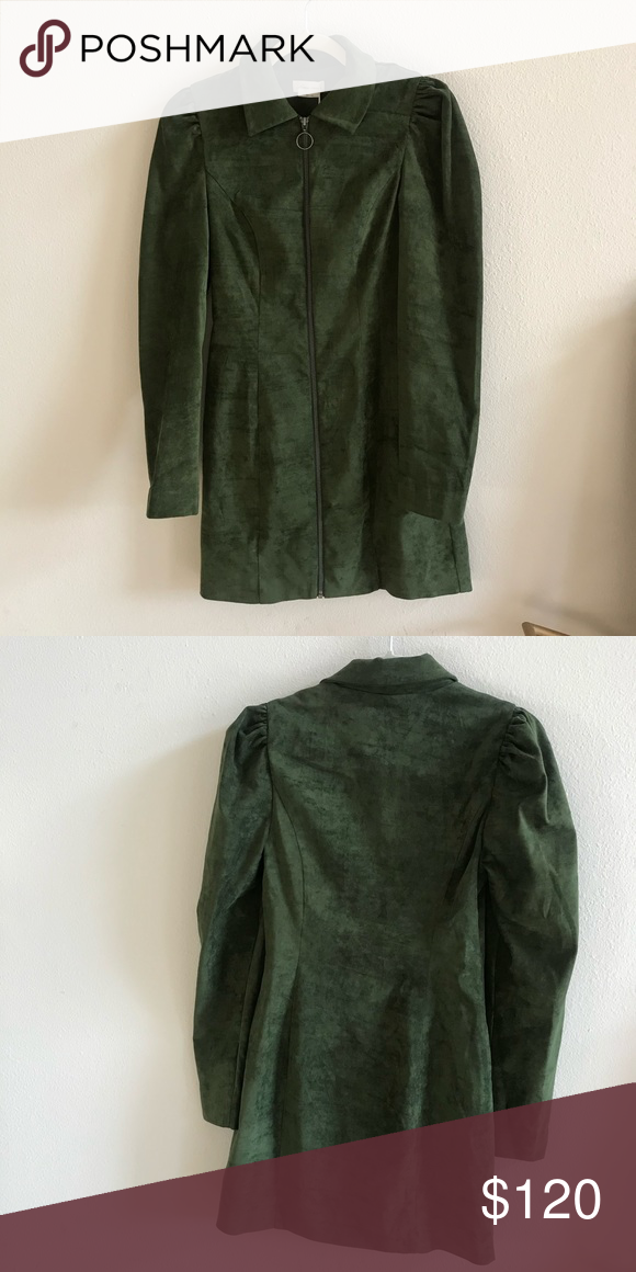 Green Long Sleeve Mini Dress