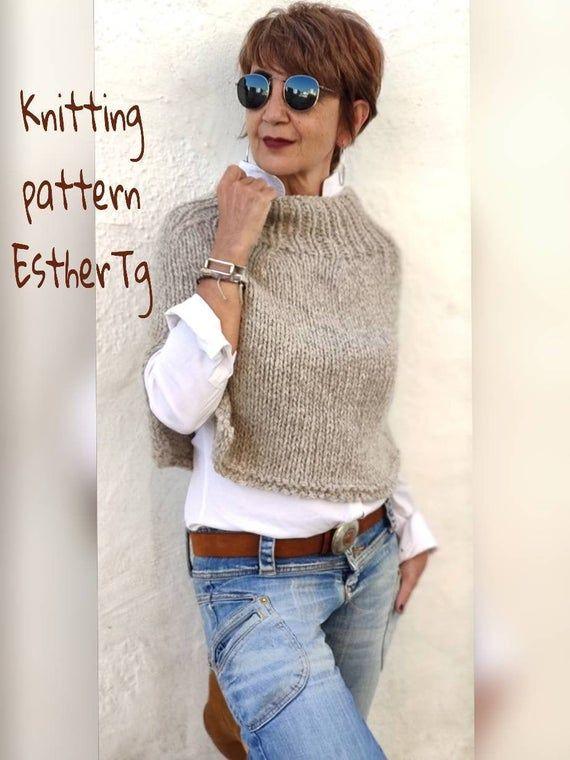 Knitting patterns for women, wool poncho pattern ,