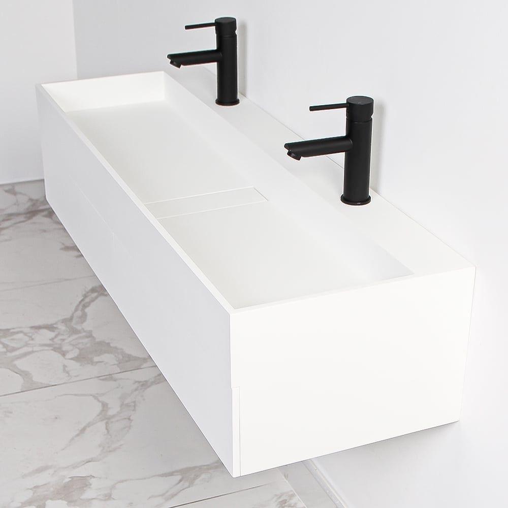 Lusso Stone Thinn Slimline Double Basin Draw Vanity Unit 1200 Resin Basins