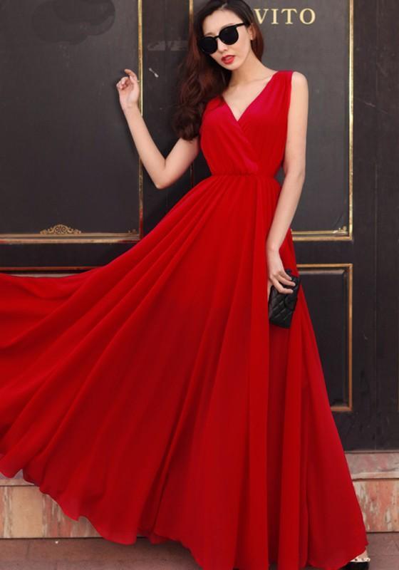 Red Draped V-neck Sleeveless Elegant Chiffon Prom Evening ...