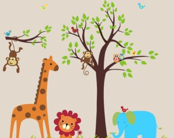 Tree Sticker Wall Decals Nursery Safari Animal Decals Wall Stickers Nursery Jungle Wall Stickers 83 x 107 Nursery Wall Decals