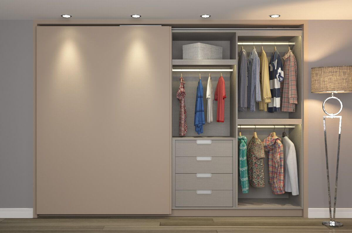 Linen Xylo carcass and flush closing sliding wardrobe