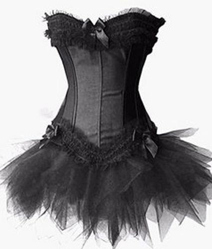 Opentip.com: Muka Burlesque Black Corset Bustier Lingerie And Petticoat, Halloween Costume