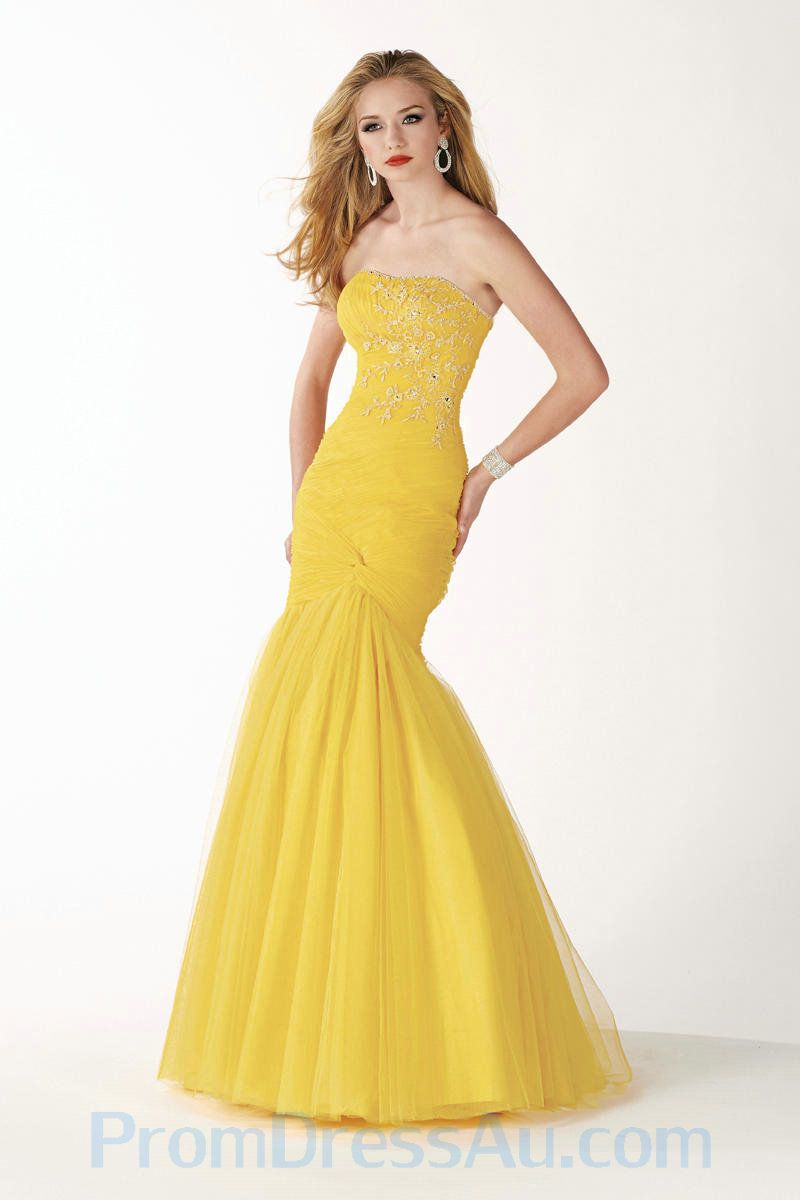Strapless Yellow Mermaid Style Tulle Prom Gown US | Beach Wedding ...