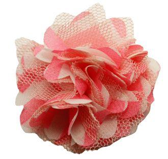 """2"""" Chevron Lace & Chiffon Flower/Clip - Pink & White"""