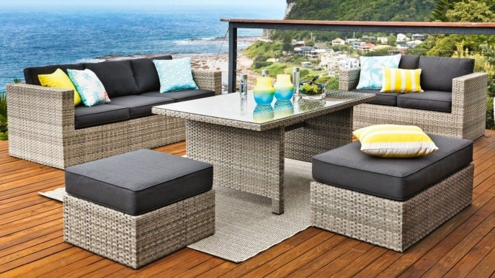 Valetta 5 piece outdoor lounge dining setting outdoor for Outdoor furniture harvey norman