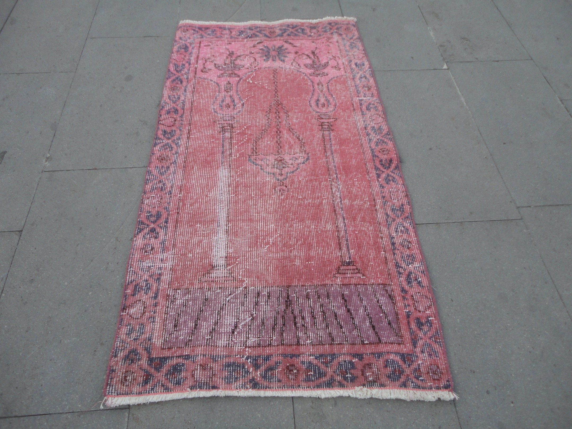 Pink Overdyed Turkish Hand Made Rugdistressed Wool Gift Etsy Office Rug Types Of Rugs Wool Gifts