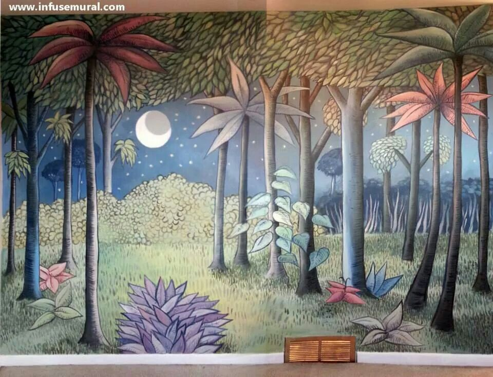 Bedroom mural of a background from Maurice Sendak's Where