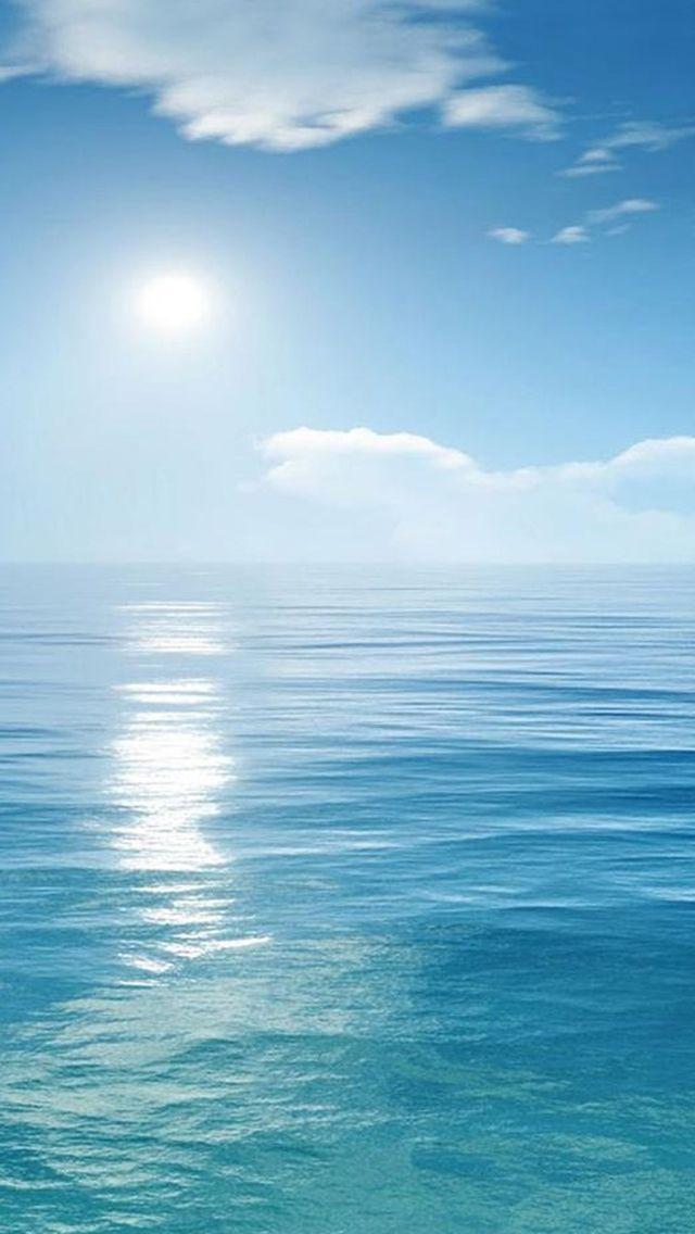 Bright Sunny Scene Over Ocean iPhone 5s wallpaper