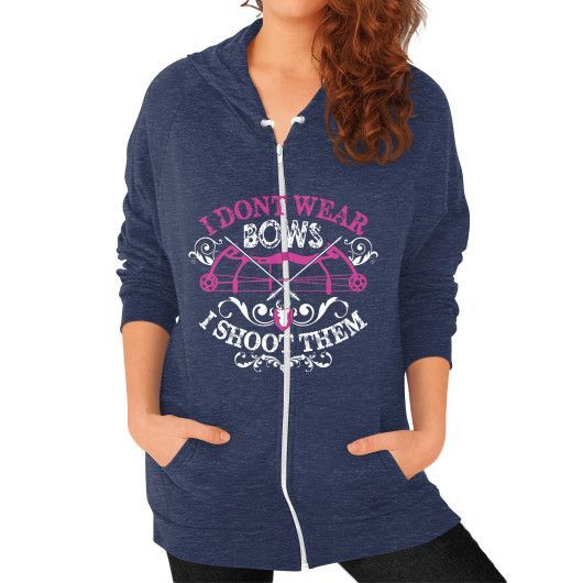 I DONT WEAR BOWS Zip Hoodie (on woman)