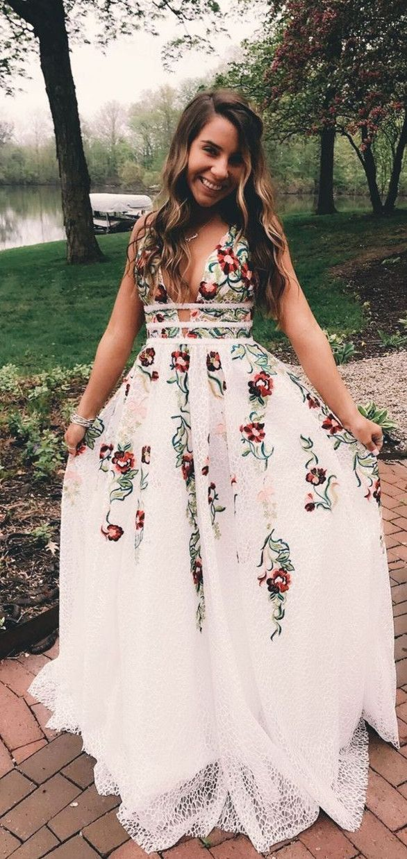 30df088c545 Princess V Neck Floral Embroidery Long Prom Dress in 2019