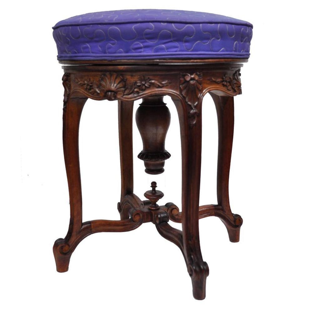 Antique French Louis XV Style Finely Carved Walnut Adjustable Vanity Chair  Stool