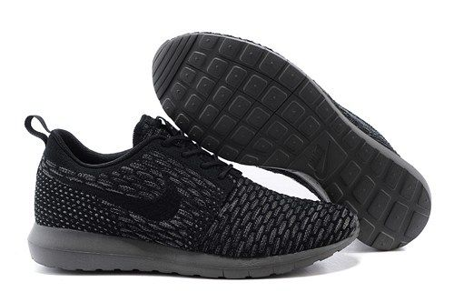 purchase cheap 15fef 7bbd1 677243 001 Nikes Flyknit Roshe Run mesh black men running shoes