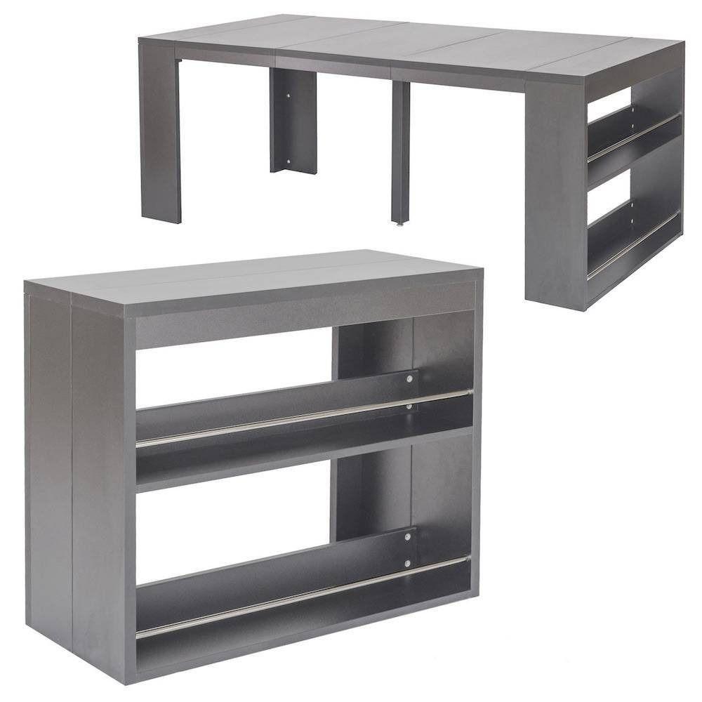 Table Console Extensible Avec Etageres Urbanne Gris Einrichtung