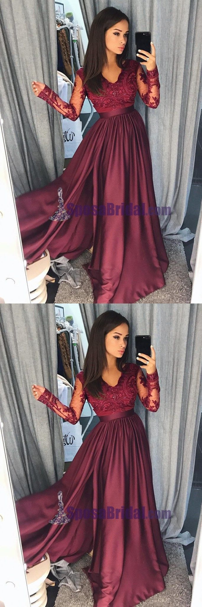 Charming long sleeves v neck top lace chiffon navy grey burgundy