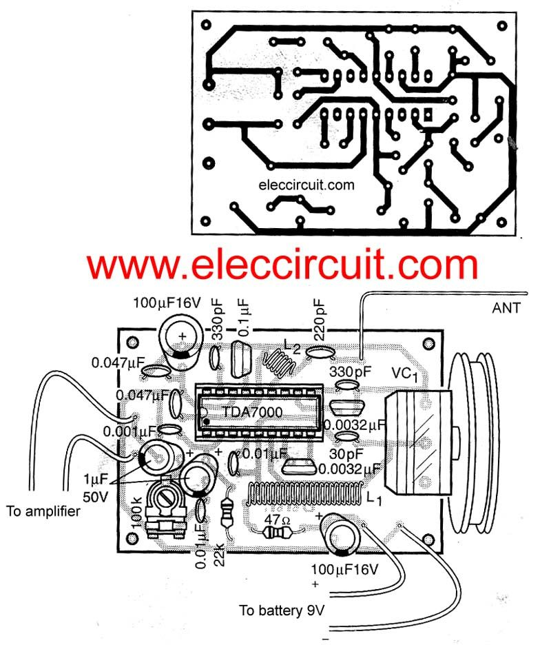 fm receiver circuit with pcb