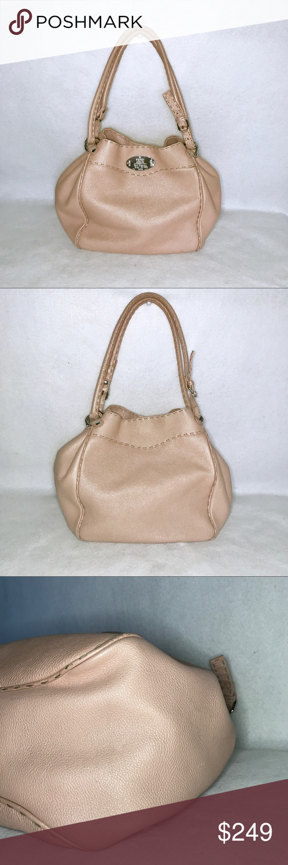2e0666f5463d Auth Pink FENDI Selleria Pebbled Leather Hobo Bag 🌸 100% Authentic 🌸 NO  DAMAGE -