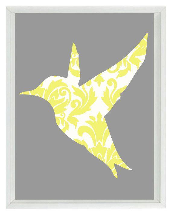 Bird Wall Art Print - Yellow Gray Decor Damask Hummingbird - Modern ...