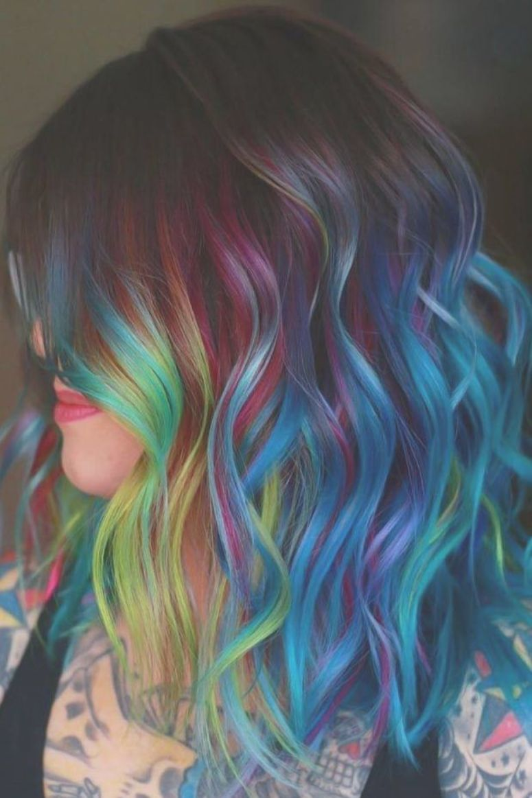 Blue Black With Holographic Rainbow Brunette Highlights Want