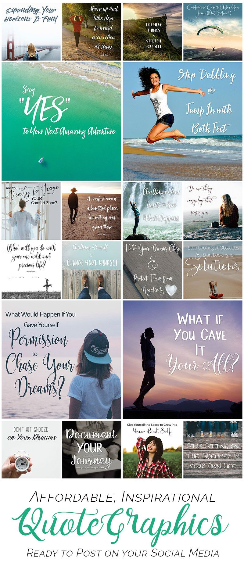 Social media quotes for marketing your small business: Connect with your prospects daily using shareable graphics that save you time! 20 gorgeous images in choice of themes. Watermark them or use as-is. Shown: DREAMS theme. Click to website to see them all!