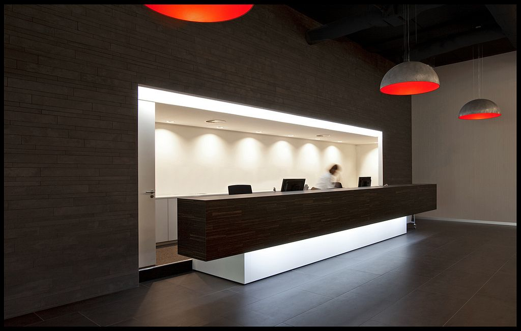Reception Desk Desks Desks And Pendant Lamps