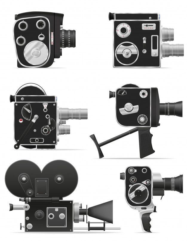 Ancienne Illustration Vectorielle De Rétro Vintage Film Caméra Vidéo