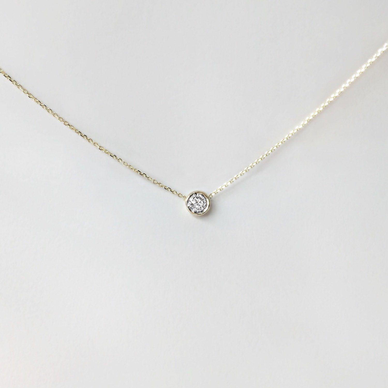 cfab05b1724e Collar de diamantes solitario delicado.20 ct oro de 14 k