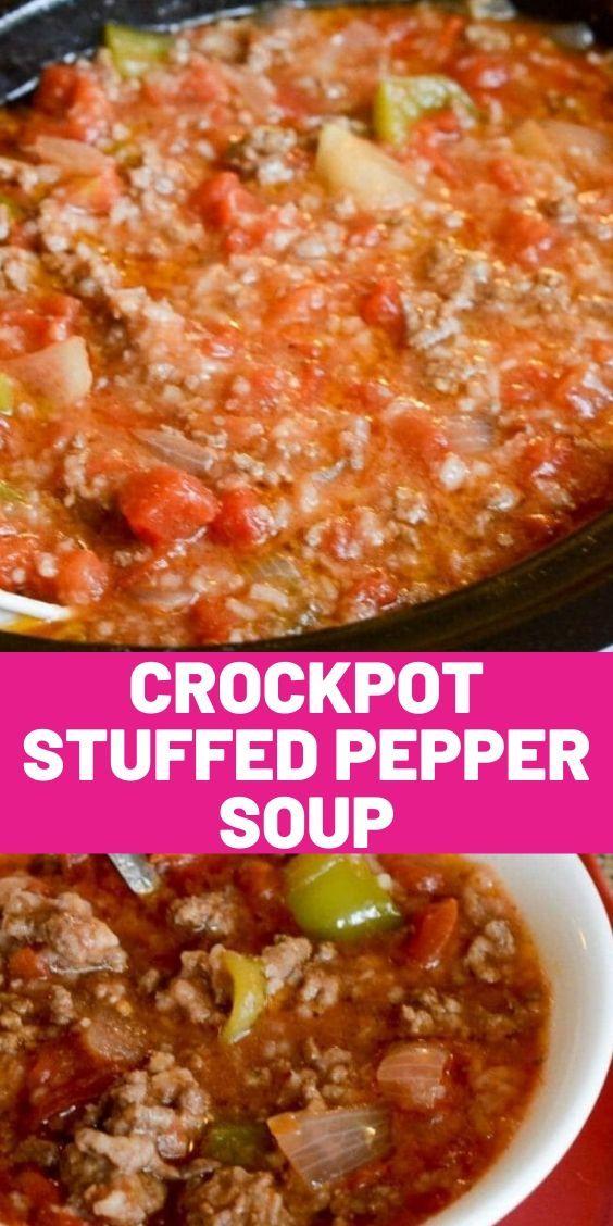 Crockpot Stuffed Pepper Soup In 2020 Crockpot Stuffed Peppers Stuffed Peppers Crockpot Soup Recipes