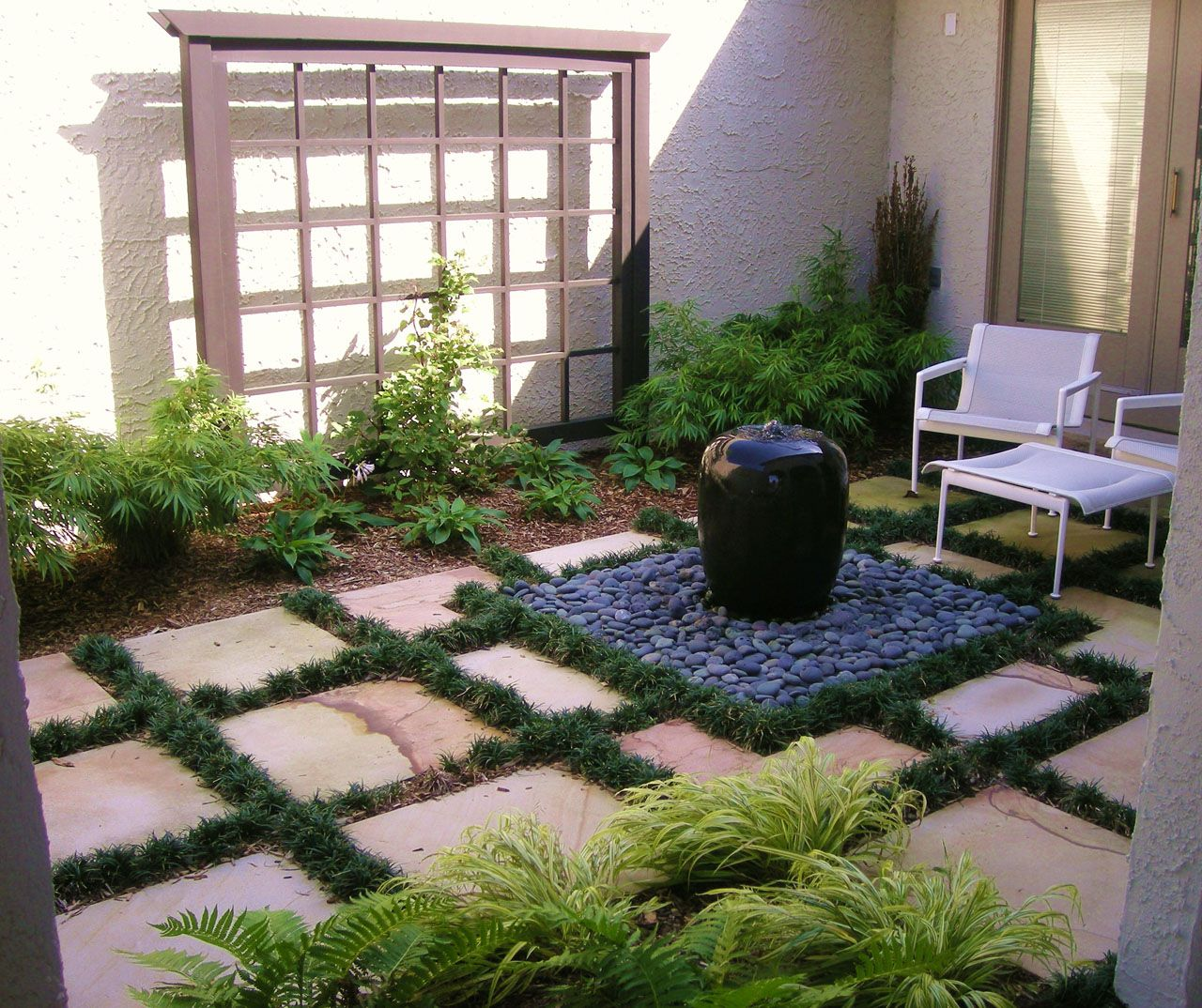 Water features nj nj outdoor water feature waterfall nj for Courtyard garden ideas