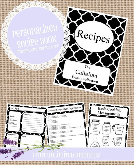 23 Page Recipe Book, PRINTABLE; MATCHING Spines And Back